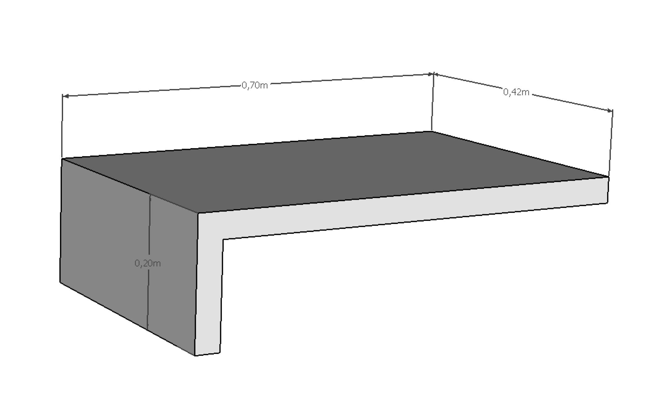 Coupe de la margelle en L RENO 42x70 cm