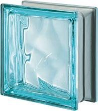 brique de verre Aquamarine métallisé
