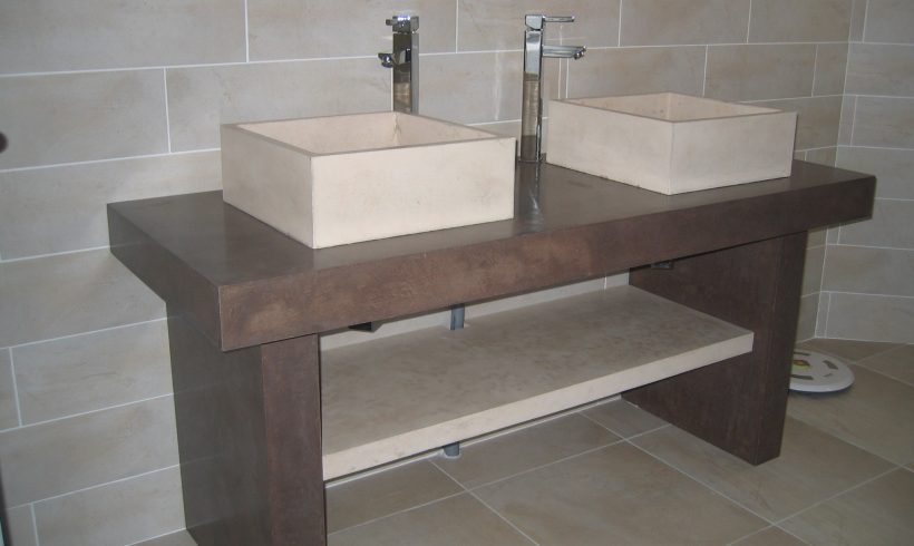 Lavabo double vasque en micro-béton