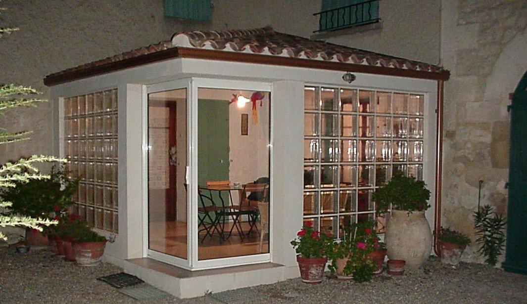 veranda en briques de verre 30x30 cm