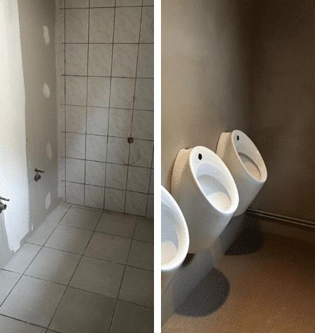 toilettes restaurant en béton ciré