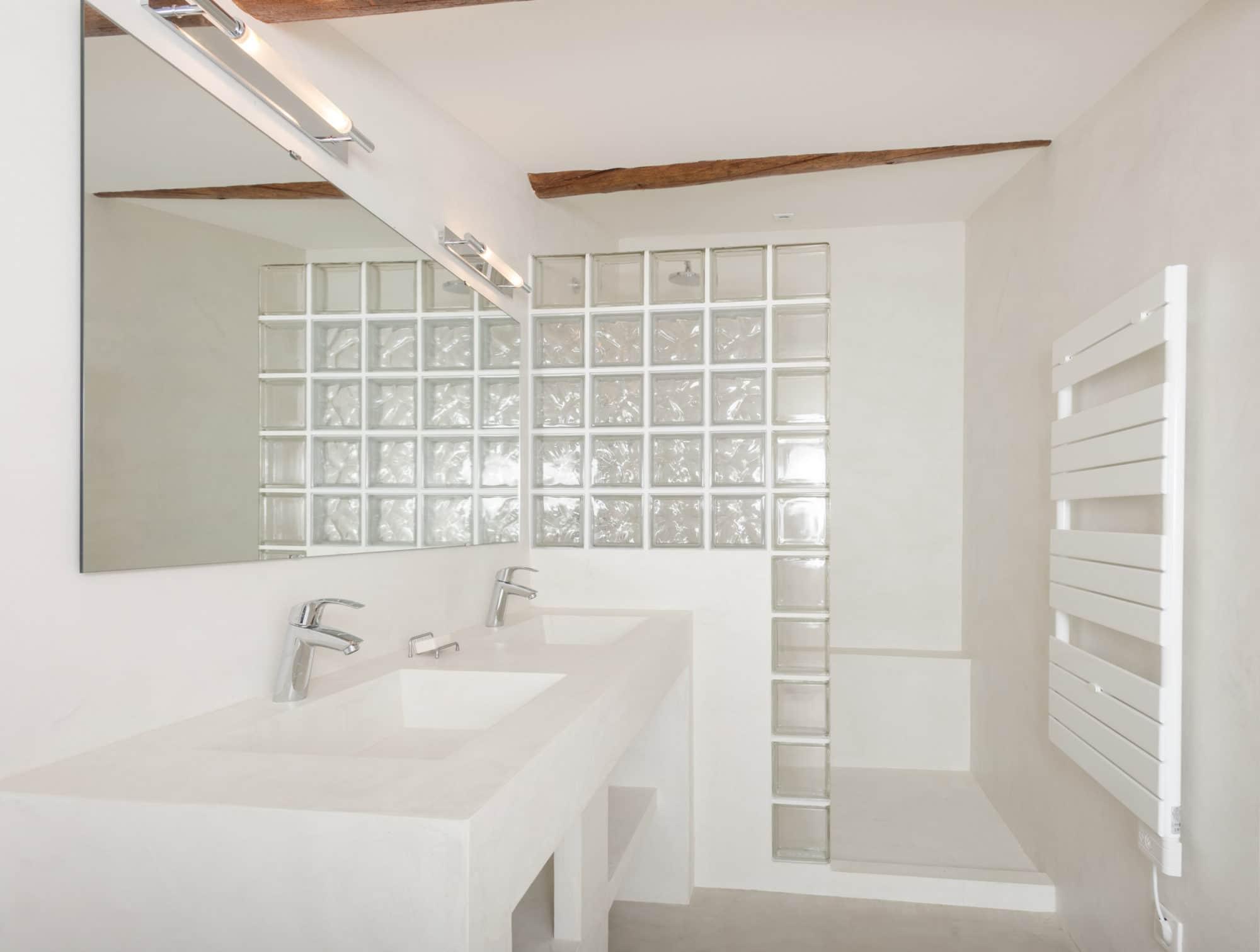salle-bains-douche-béton-ciré-briques-verre